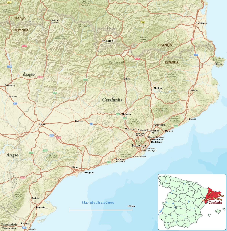 Mapa Da Catalunha Espanha